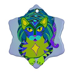 Peacock Tabby Snowflake Ornament (2 Side) by jbyrdyoga