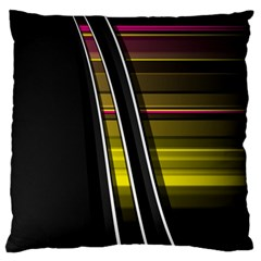 Abstract Multicolor Vectors Flow Lines Graphics Large Flano Cushion Case (Two Sides) by Zeze