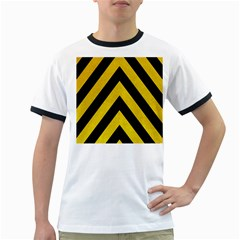 Construction Hazard Stripes Ringer T-Shirts by AnjaniArt