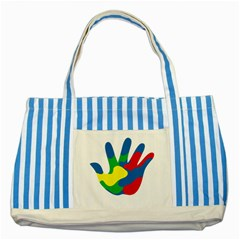 Creativity Painted Hand Copy Striped Blue Tote Bag by AnjaniArt