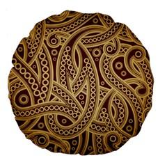 European Fine Pattern Large 18  Premium Flano Round Cushions by AnjaniArt