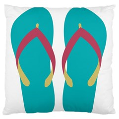 Flip Flop Slippers Copy Large Flano Cushion Case (two Sides) by AnjaniArt