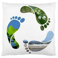 Footprint Recycle Sign Large Cushion Case (One Side) by AnjaniArt