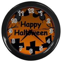 Happy Halloween   Bats On The Cemetery Wall Clocks (black) by Valentinaart
