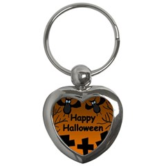 Happy Halloween   Bats On The Cemetery Key Chains (heart)  by Valentinaart