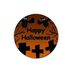 Happy Halloween   Bats On The Cemetery Rubber Coaster (round)  by Valentinaart