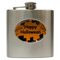 Happy Halloween   Bats On The Cemetery Hip Flask (6 Oz) by Valentinaart