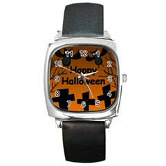 Happy Halloween   Bats On The Cemetery Square Metal Watch by Valentinaart