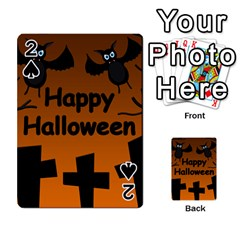 Happy Halloween   Bats On The Cemetery Playing Cards 54 Designs  by Valentinaart