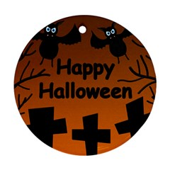 Happy Halloween - bats on the cemetery Round Ornament (Two Sides)