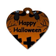 Happy Halloween   Bats On The Cemetery Dog Tag Heart (one Side) by Valentinaart
