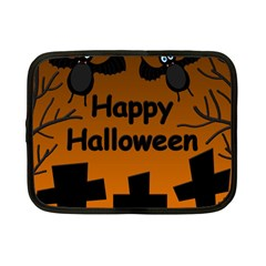 Happy Halloween   Bats On The Cemetery Netbook Case (small)  by Valentinaart