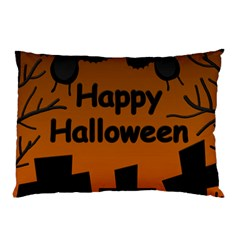Happy Halloween   Bats On The Cemetery Pillow Case by Valentinaart