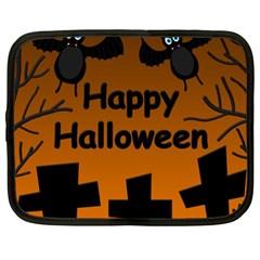 Happy Halloween   Bats On The Cemetery Netbook Case (xxl)  by Valentinaart