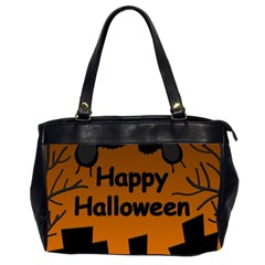 Happy Halloween   Bats On The Cemetery Office Handbags (2 Sides)  by Valentinaart