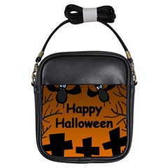 Happy Halloween   Bats On The Cemetery Girls Sling Bags by Valentinaart