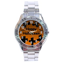 Happy Halloween   Bats On The Cemetery Stainless Steel Analogue Watch by Valentinaart