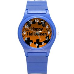 Happy Halloween   Bats On The Cemetery Round Plastic Sport Watch (s) by Valentinaart