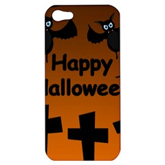 Happy Halloween   Bats On The Cemetery Apple Iphone 5 Hardshell Case by Valentinaart
