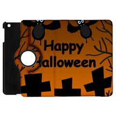 Happy Halloween   Bats On The Cemetery Apple Ipad Mini Flip 360 Case by Valentinaart