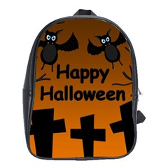 Happy Halloween   Bats On The Cemetery School Bags (xl)  by Valentinaart