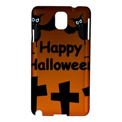 Happy Halloween   Bats On The Cemetery Samsung Galaxy Note 3 N9005 Hardshell Case by Valentinaart