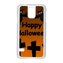 Happy Halloween   Bats On The Cemetery Samsung Galaxy S5 Case (white) by Valentinaart