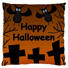 Happy Halloween   Bats On The Cemetery Large Flano Cushion Case (two Sides) by Valentinaart