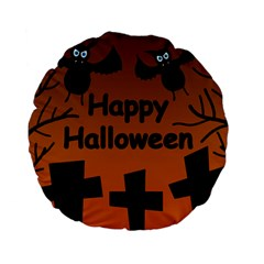 Happy Halloween   Bats On The Cemetery Standard 15  Premium Flano Round Cushions by Valentinaart