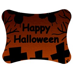 Happy Halloween   Bats On The Cemetery Jigsaw Puzzle Photo Stand (bow) by Valentinaart