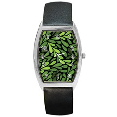 Free Green Nature Leaves Seamless Barrel Style Metal Watch by AnjaniArt