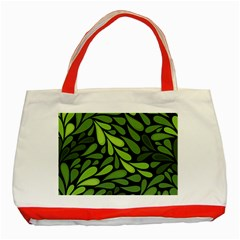 Free Green Nature Leaves Seamless Classic Tote Bag (red) by AnjaniArt