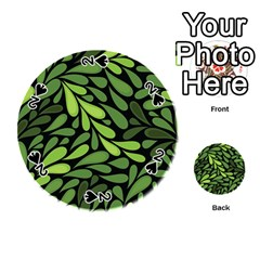 Free Green Nature Leaves Seamless Playing Cards 54 (round)  by AnjaniArt