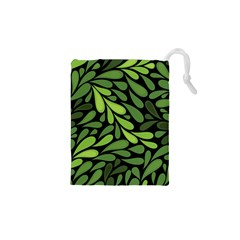 Free Green Nature Leaves Seamless Drawstring Pouches (xs)  by AnjaniArt