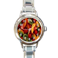 Fruit Salad Round Italian Charm Watch by AnjaniArt
