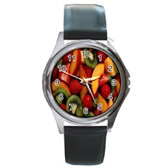 Fruit Salad Round Metal Watch by AnjaniArt