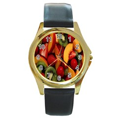 Fruit Salad Round Gold Metal Watch by AnjaniArt
