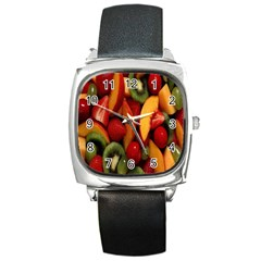 Fruit Salad Square Metal Watch by AnjaniArt