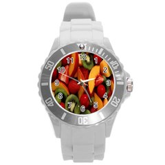 Fruit Salad Round Plastic Sport Watch (l) by AnjaniArt