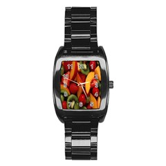 Fruit Salad Stainless Steel Barrel Watch by AnjaniArt