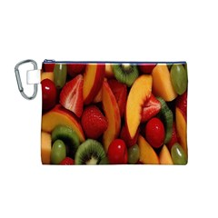 Fruit Salad Canvas Cosmetic Bag (m) by AnjaniArt