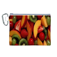 Fruit Salad Canvas Cosmetic Bag (l) by AnjaniArt