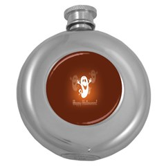 Funny Halloween Round Hip Flask (5 Oz) by AnjaniArt