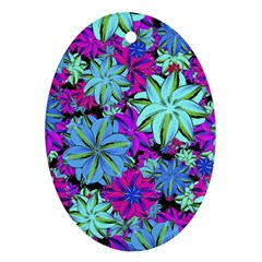 Vibrant Floral Collage Print Ornament (oval)  by dflcprints