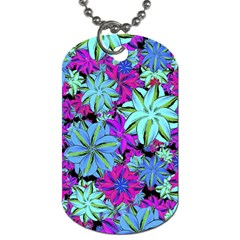 Vibrant Floral Collage Print Dog Tag (two Sides) by dflcprints