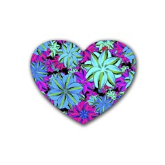 Vibrant Floral Collage Print Rubber Coaster (heart)  by dflcprints