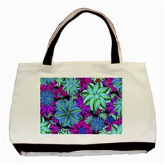 Vibrant Floral Collage Print Basic Tote Bag (two Sides) by dflcprints