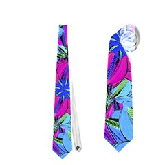 Vibrant Floral Collage Print Neckties (one Side)  by dflcprints