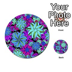 Vibrant Floral Collage Print Multi Purpose Cards (round)  by dflcprints