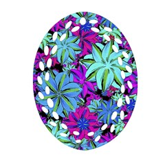 Vibrant Floral Collage Print Ornament (oval Filigree)  by dflcprints